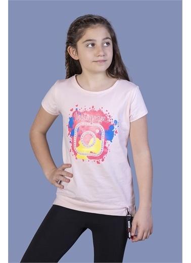 Toontoy Kids Toontoy Kız Çocuk Renkli Instagram Baskılı Tişört Pudra